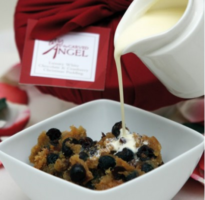 White Chocolate & Cranberry Christmas Pudding