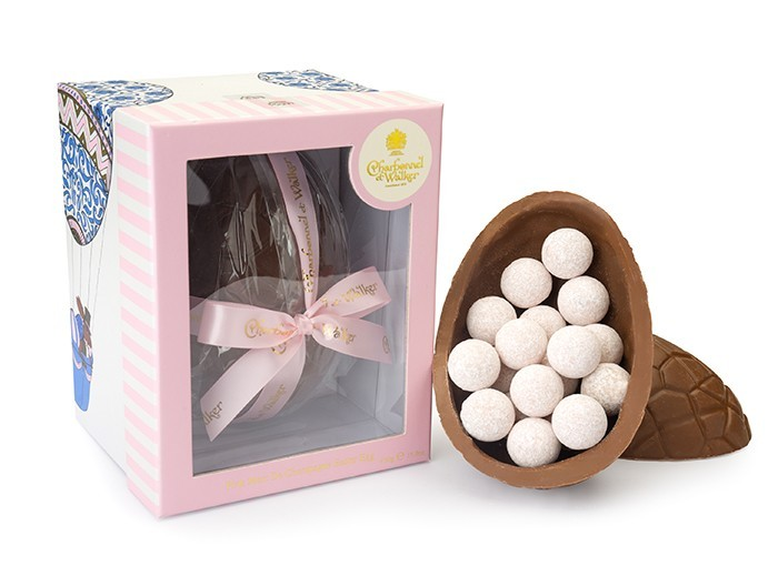Charbonnel et Walker Milk Chocolate Easter Egg With Pink Marc De Champagne Truffles