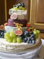 Decorative Tiered Cheese And Fruit Wedding Cake